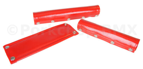 FLITE 3 Piece VINYL 5 SNAP naugahyde old school BMX Bicycle Pads Padset RED