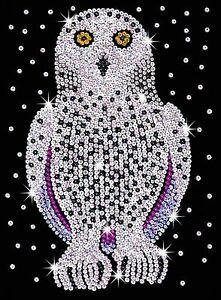 KSG-Sequin-Art-Original-Paillettenbild-Schnee-Eule-1604