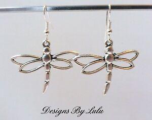 Image Is Loading Dragonfly Earrings 925 Sterling Silver Ear Hooks Tibetan
