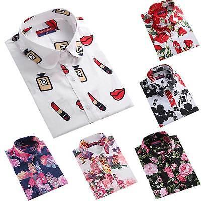 Dioufond Women Cotton Floral Print Blouses Long Sleeve Hot Casual Lip Rose Shirt