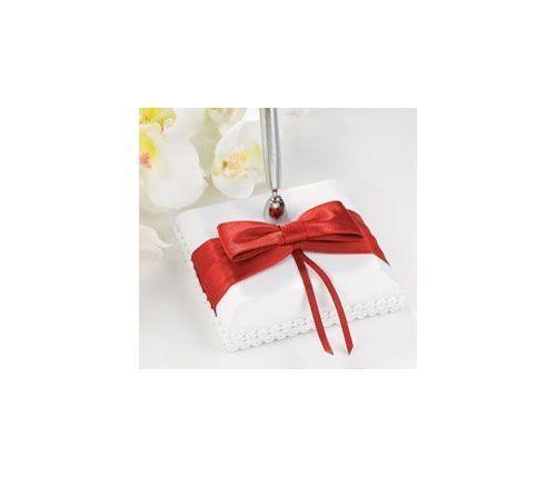 NEW Hortense B Hewitt Red Claret Bow Guest Book Pen