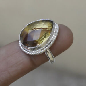 Pear-Faceted-Citrine-Amethyst-Ametrine-Gemstone-Sterling-Silver-Ring-Jewelry