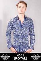 Men's Barabas Cotton Royal Blue Paisley Print Slim Fit Button Down Shirt 4501