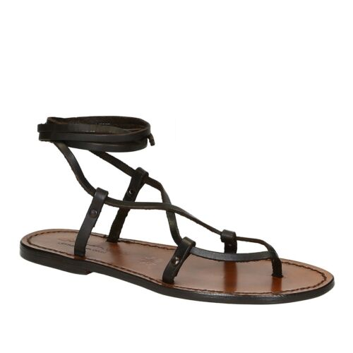 Women/'s handmade strappy gladiator open sandals brown calf leather Made in Italy
