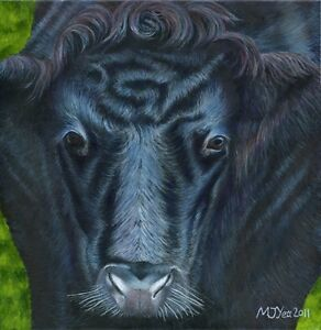 Original-acrylic-painting-cow-039-s-face-animal-art-16x16-034-ready-to-hang