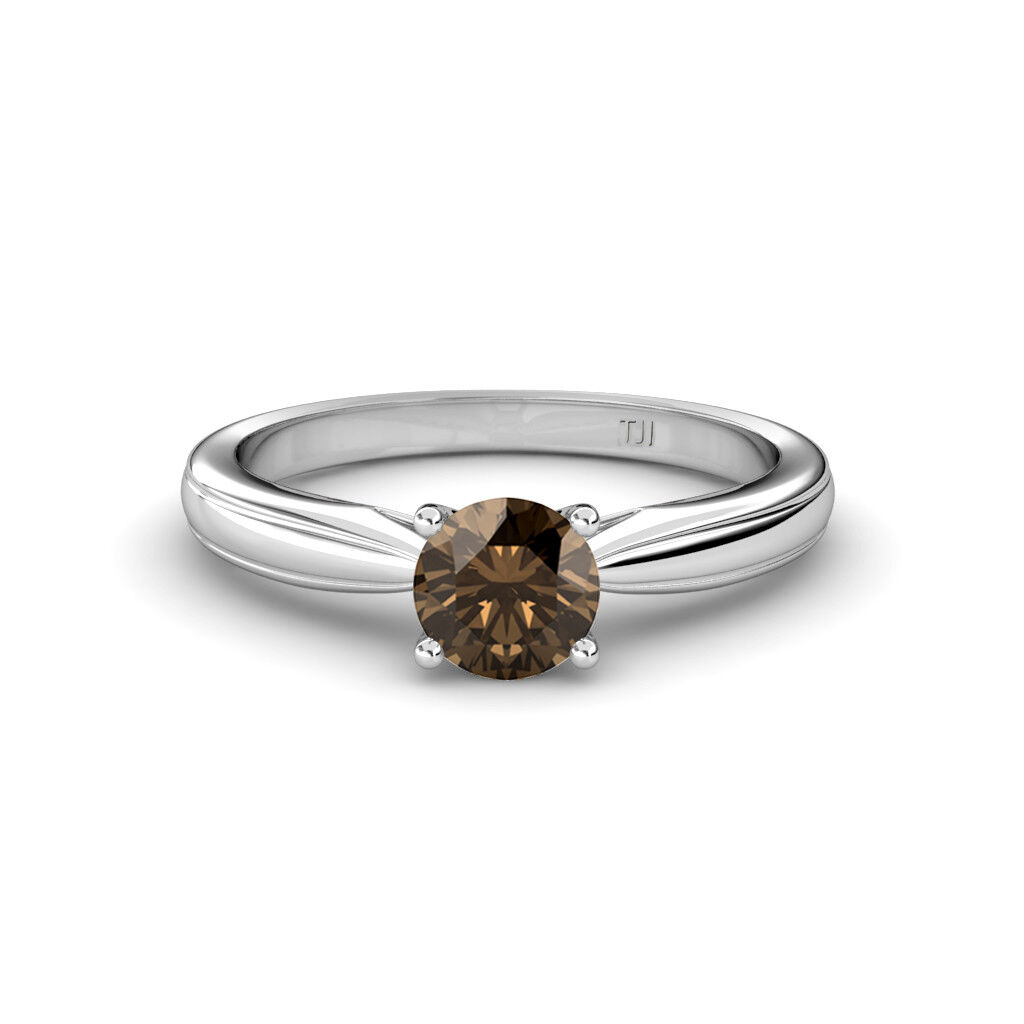 Smoky Quartz 6.50mm Solitaire Engagement Ring 0.95 Carat in 14K gold JP 80032