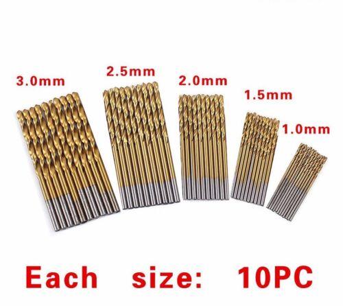 50PCS//Set Tungsten Carbide Twist Drill Bit High Steel Titanium Coated Tool New