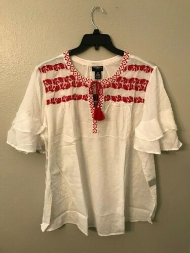 NWT Liz Claiborne Women/'s Plus 3X Red White Floral Embroidered Sheer Top