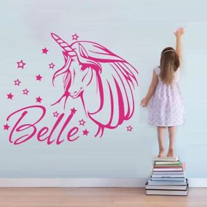 Name-Wall-Decal-Unicorn-Wall-Sticker-Personalized-Girl-039-s-Room-Decor
