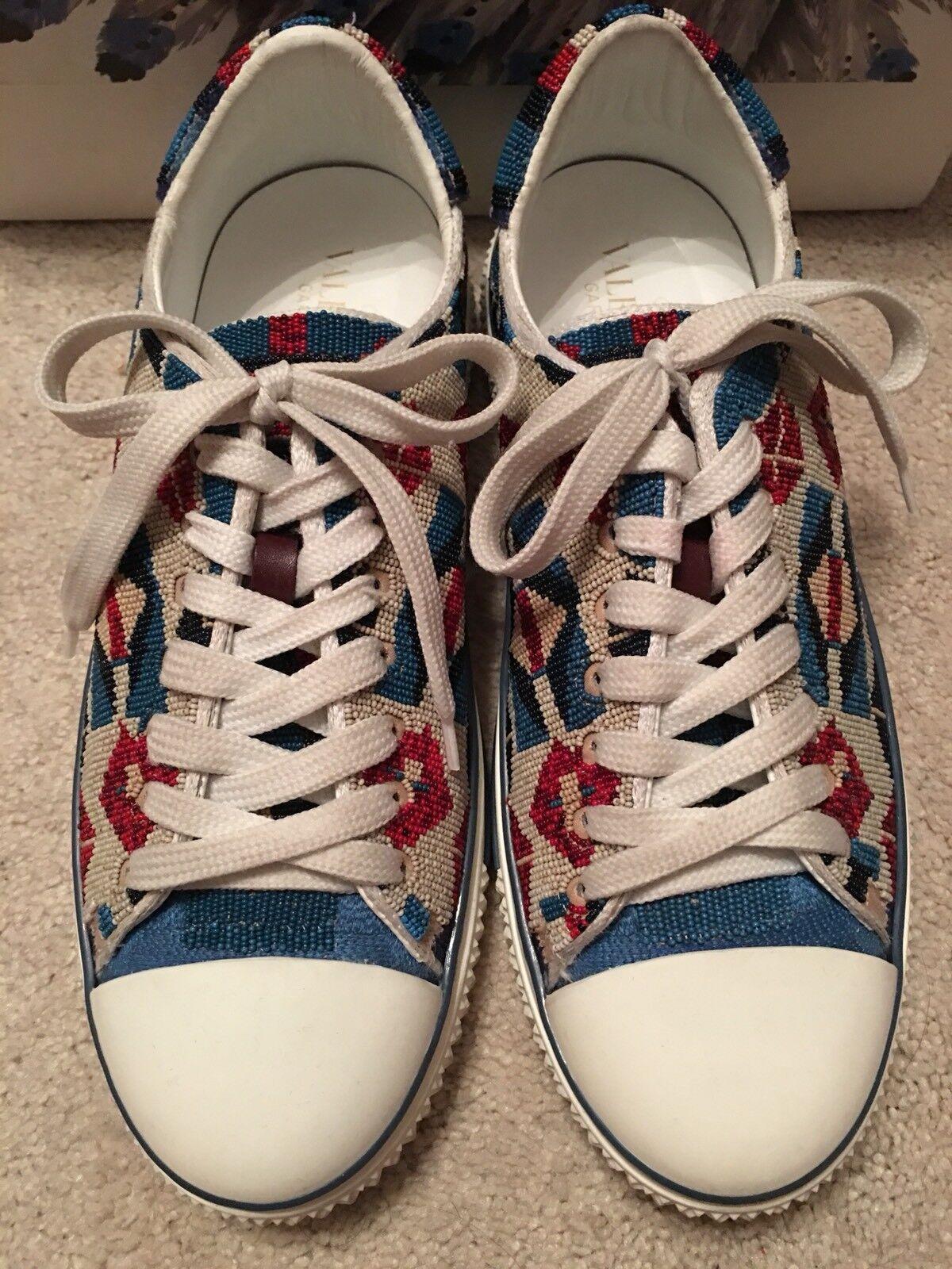 Valentino Garavani Beaded röd vit & blå Native skor skor Italien 40  3K