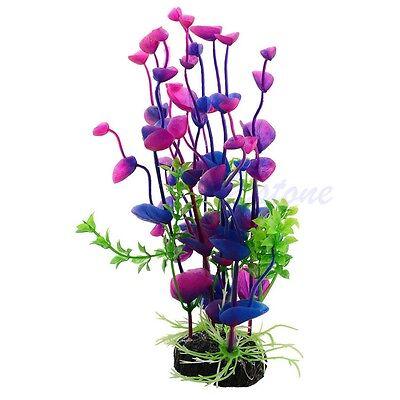 Artificial Purple Plants Plastic Grass Aquarium Decor Ornament For Fish Tank New