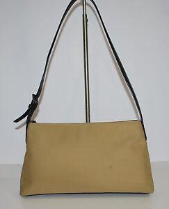 0cdc02aad07 Coach Khaki Twill Shoulder Bag 7406 Great Size Leather trim Very ...