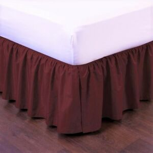 "1 BURGUNDY SOLID DRESSING BED SKIRT PLEATED WITH OPEN CORNERS 14"" INCH DROP NEW"