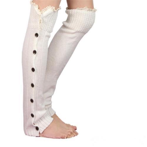 Toeless Crochet Cable Knit Rib Over The Knee High Socks Women Boots Sock QK