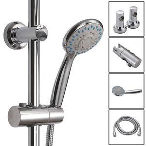 Adjustable-Chrome-Shower-Slider-Riser-Rail-Bar-Kit-Set-Modern-Head-amp-Hose-Holder