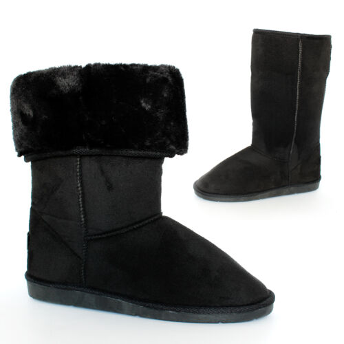 LADIES SOFT WINTER BOOTIES FUR LINED WOMENS SLIPPERS BOOTS FAUX SUEDE SIZES 3-8