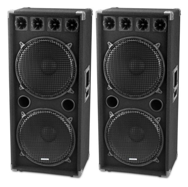 """PAIR D ENCEINTES DJ PA DISCO 2x15"""" (38CM) SUBWOOFER HAUT PARLEUR 2 ETAGES 3000W"""