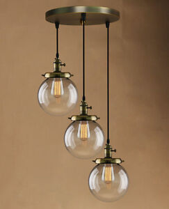 Retro vintage cluster hanging ceiling lights globe 3 glass shades image is loading retro vintage cluster hanging ceiling lights globe 3 aloadofball Choice Image