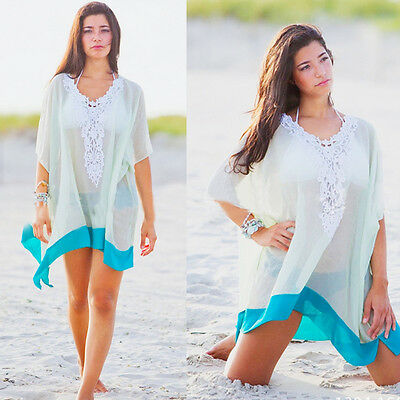 Women Summer Sexy Beach Sleeveless Bikini Cover Up Swimwear Short Macrame Dress
