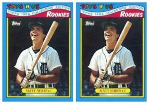 (2) 1988 Topps Toys R' Us Rookies Baseball 22 Matt Nokes Lot Detroit Tigers
