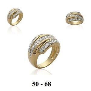 Dolly-Bijoux Bague  T52 Volupté de Diamant Cz Plaqué Laminé Or 18K 5 Microns