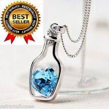 Blue Women  birthday gifts crystal Love Bottle Pendant sapphire heart Necklace