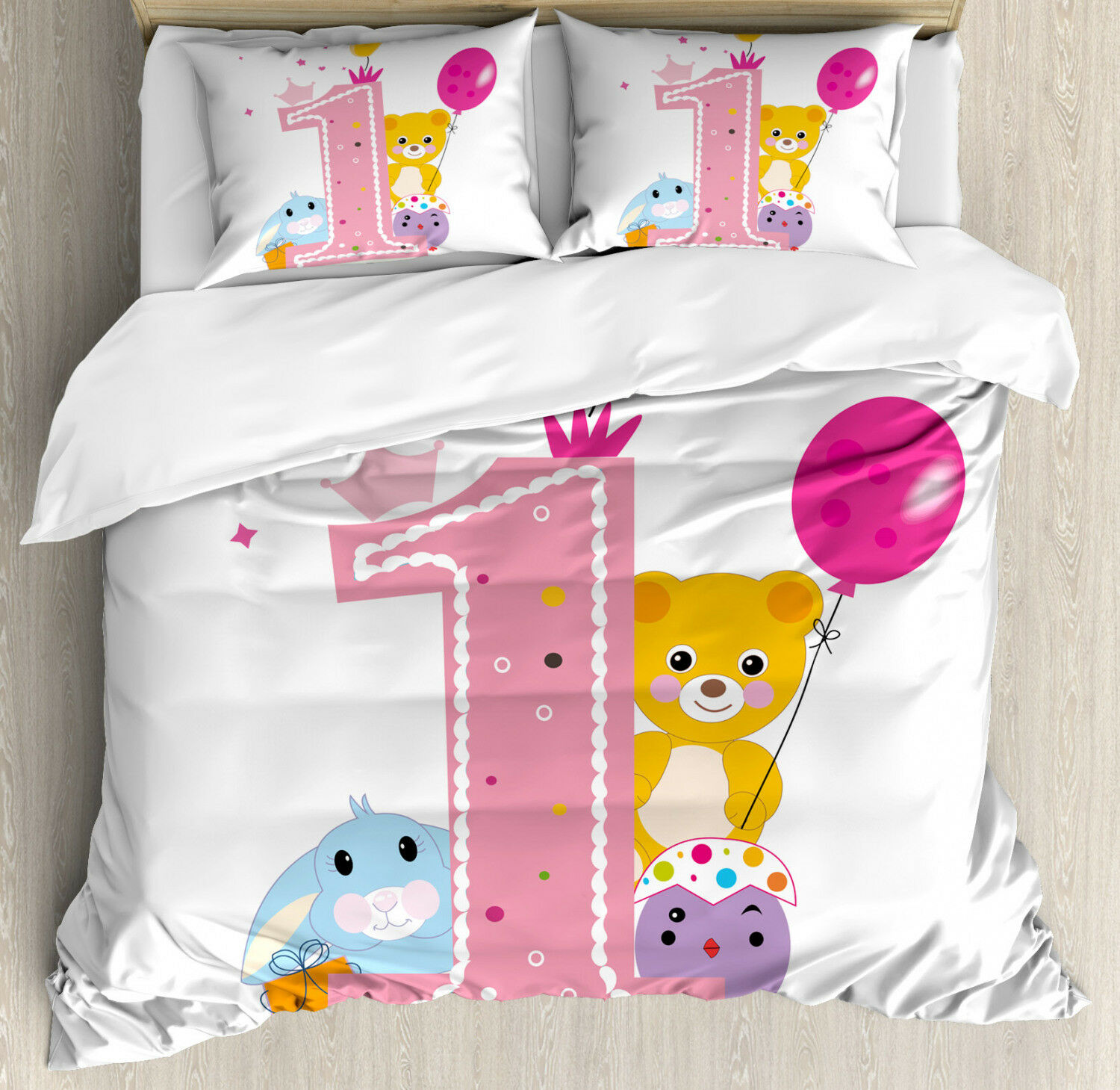 Birthday Duvet Cover Set with Pillow Shams Princess Girl Party Print
