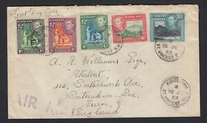 St-Vincent-Air-Mail-cover-displaying-five-King-George-VI-stamps-1952-Kingstown