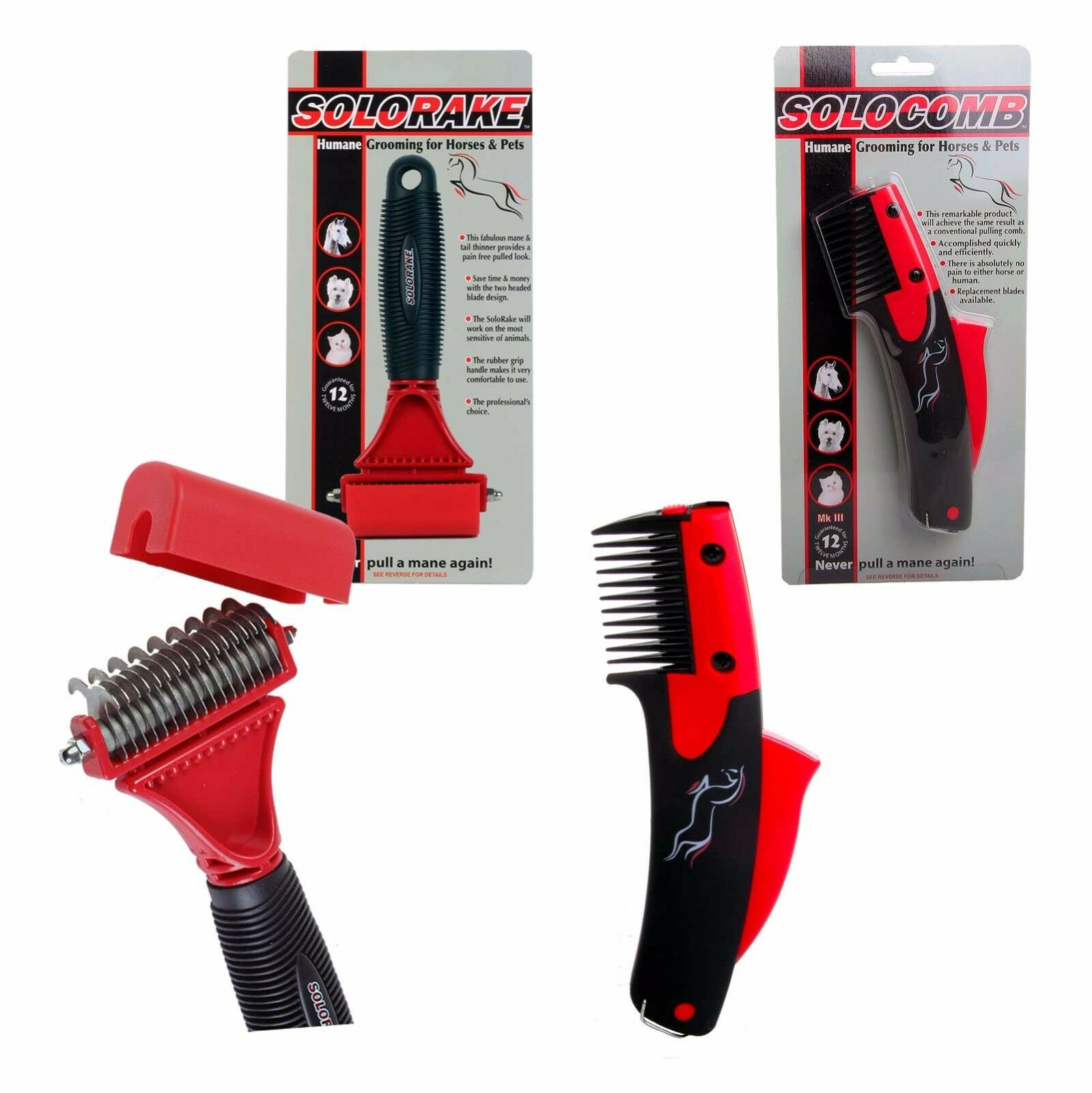 SOLOCOMB SOLO COMB RAKE BLADES  THINNING MANE & TAIL COMB BRUSHES