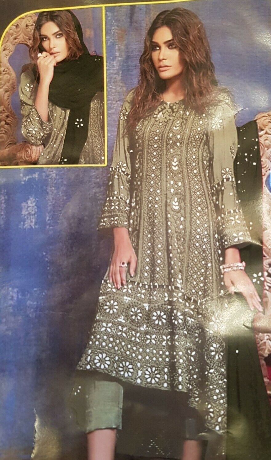 punjabi suit heavy material unstitched with mirror work and scarf unstitched