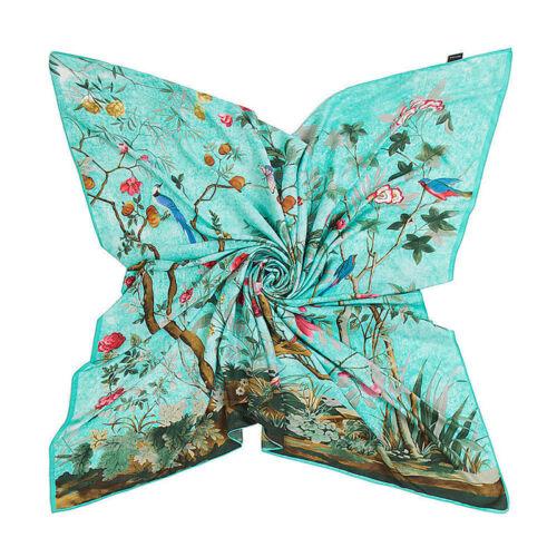 """51/"""" Mode femme imprimé vintage fleurs faxu soie châle grand carré foulard 51/"""""""
