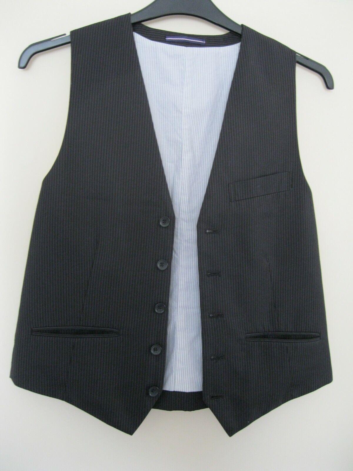 Topman black + narrow pinstripe waistcoat 40 (M) 3 pockets, fully lined, 21