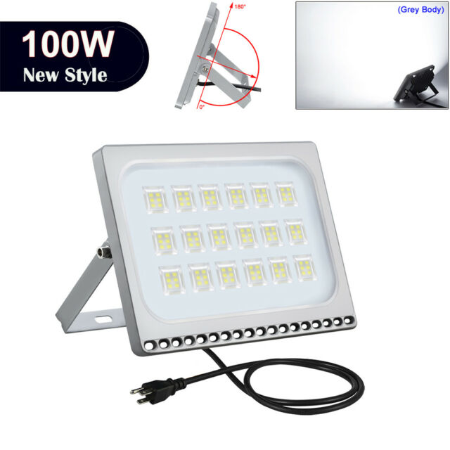 1x 100w Led Flood Light With Plug Outdoor Yard Security Lighting Cool White Lamp