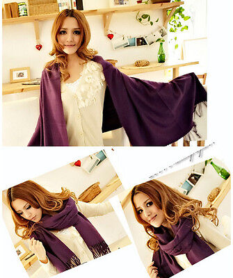 Hot Unisex Fashion Retro Pashmina Silk Solid Shawl Wrap Long Range Scarf