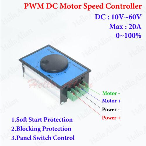 20A 10-60V 12V 24V 48V PWM DC Motor Speed Controller Soft Start Regulator Switch