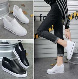 Womens-Casual-Wedge-Heels-Platform-Flats-Loafer-Sneakers-Shoes-Pull-On-Fashion-P