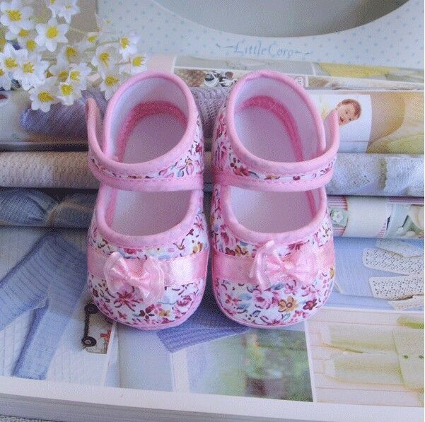 pink cotton print bowknot Cotton shoes Soft bottom baby Girls shoe 3-14 months