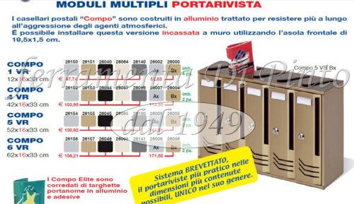 CASSETTA CASELLARIO POSTALE PORTALETTERE RIVISTE SOLUZIONI 1 4 5 6 POSTI ALLUMIN