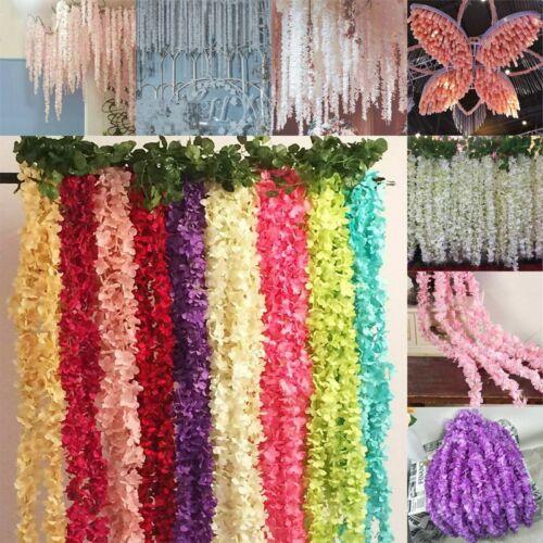 1M Artificial Silk Fake Flowers Ivy Garland Vine Wedding Wisteria Leaf Hanging