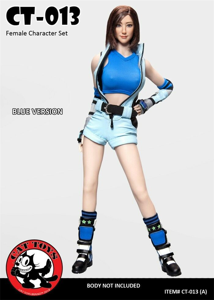 CAT TOYS 1 6 Set di combattimento donna testa intaglio Fit 12  CT013 corpo regalo Blu