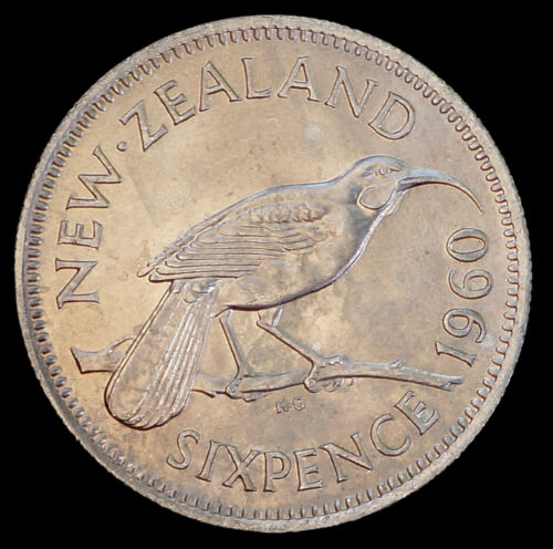 New Zealand 1960 Huia Bird Sixpence MS UNC Coin QEII 6 Pence