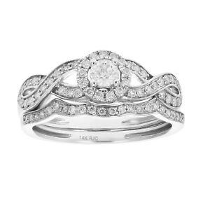 1/2 CT Diamond Infinity Wedding Engagement Ring Set 14K Gold   eBay