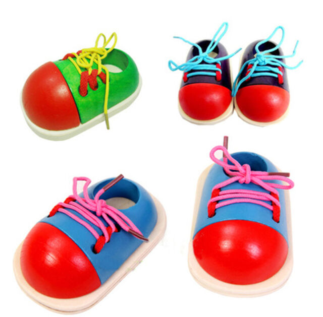 Wooden Lacing Shoe Learn To Lace Tie Your Shoe NEW Kids training toy WW