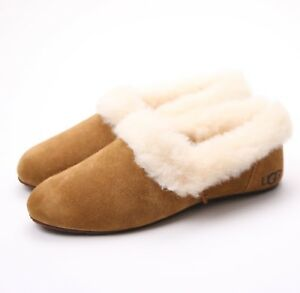 7ded42684ff Details about UGG Australia Kendyl Chestnut Suede Furry Sheepskin Slippers  US 5 NEW!
