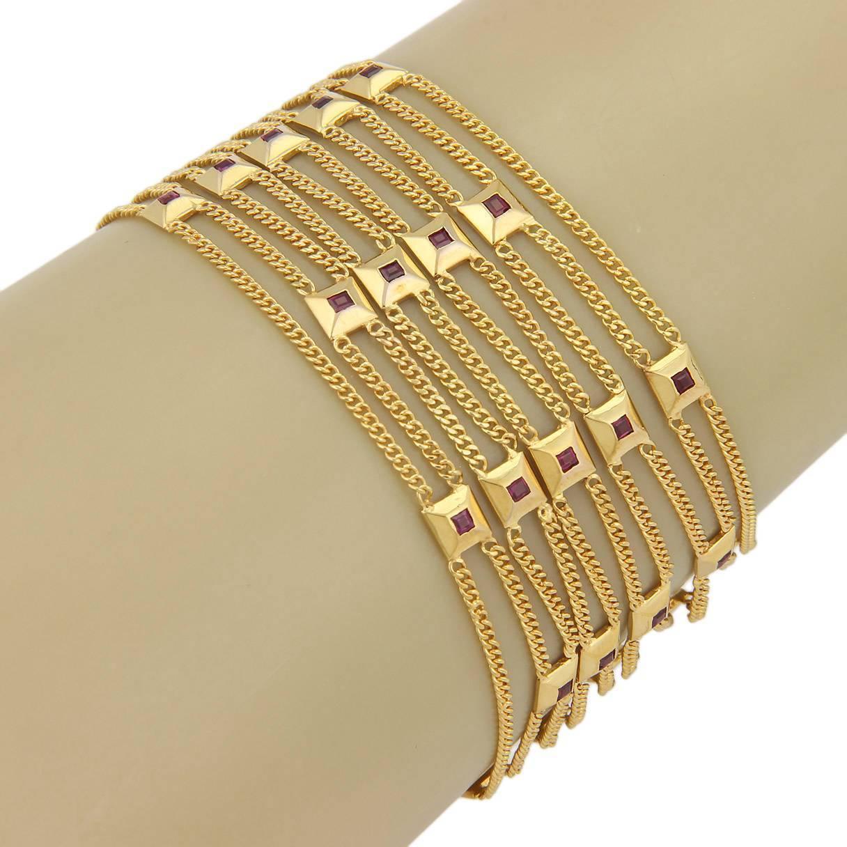 Estate 18K Yellow gold Multi Strand 1.25ct Ruby Bracelet