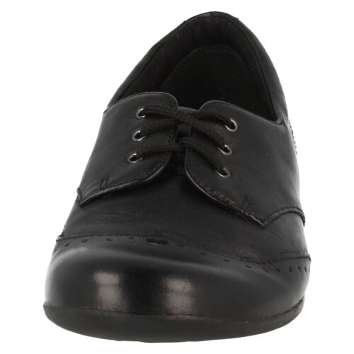 Girls Dolly Up G fitting black leather lace up School shoe By Clarks