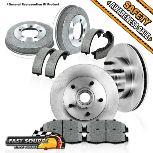 Front Brake Rotors Shoes For Chevy S10 GMC Sonoma Ceramic Pads /& Rear Drums