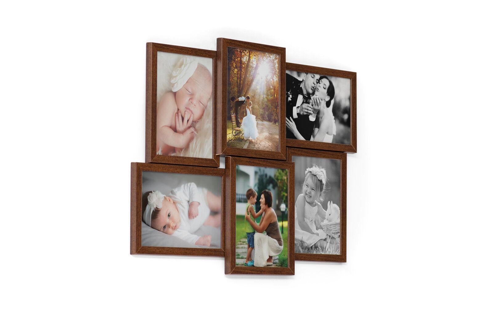 609 Holz Bildergalerie Collage Set 6 Fotos 13x18 cm 3D Wandgalerie ...