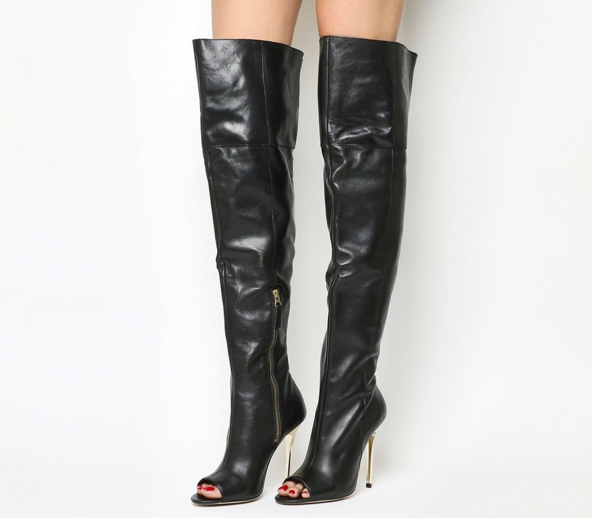 Office 'Everything Peeptoe Knee Boot'. Leather Leather Leather Thigh Boot. Brand New UK5. de8ddc