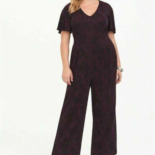 Torrid 1X 2X Jumpsuit Wide Leg Pants Lace Print Plus Size Challis One Piece NWT